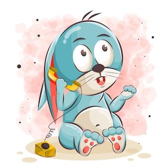 Ładny królik kreskówka dzwoniąca ilustracja