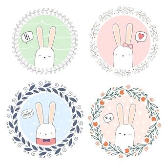 Ładny królik kreskówka króliczek doodle wieniec baner tapety