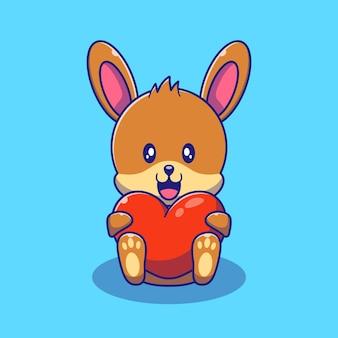 Ładny królik króliczek trzyma miłość serce ilustracja. królik zwierząt maskotka kreskówka znaków ikona koncepcja na białym tle.