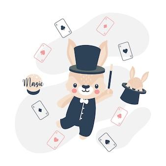 Ładny królik królik magik kreskówka doodle ilustracja