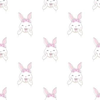 Ładny królik królik z kokardą szkic wzór bez szwu