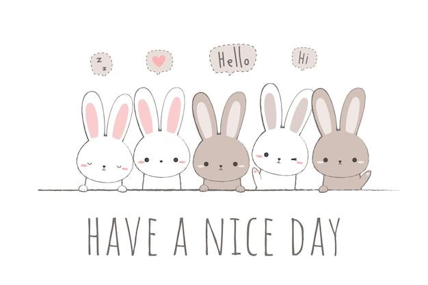 Ładny królik królika przyjaciele powitanie kreskówka doodle
