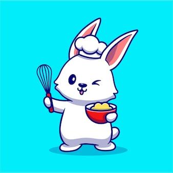 Ładny królik kucharz gotowanie postać z kreskówki. jedzenie dla zwierząt. koncepcja na białym tle.
