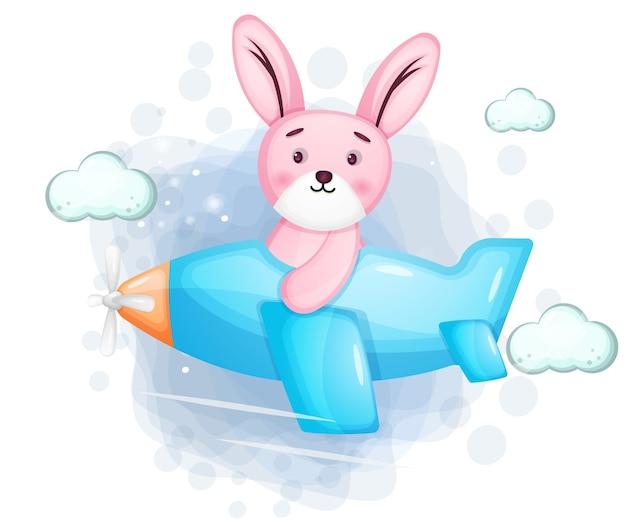 Ładny królik latający samolotem
