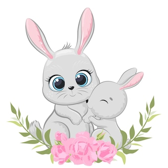 Ładny królik matka i dziecko z kwiatami i wieniec. ilustracja wektorowa kreskówki.