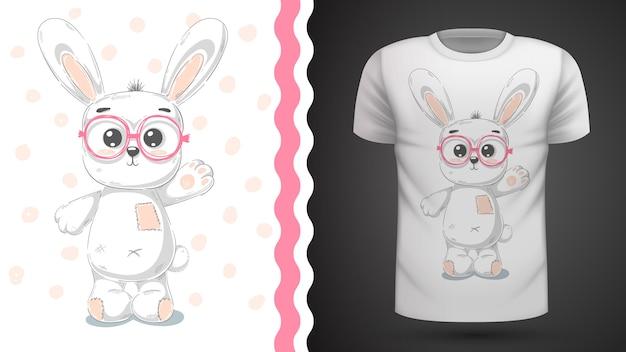 Ładny królik pomysł na t-shirt z nadrukiem