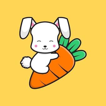 Ładny królik przytulić marchew ikona ilustracja kreskówka. zaprojektuj na białym tle płaski styl kreskówki