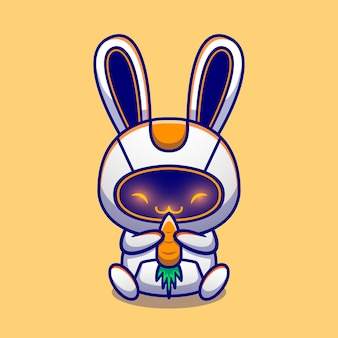 Ładny królik robota przytulić marchew postać z kreskówki. technologia zwierząt na białym tle.