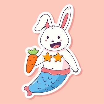 Ładny królik syrenka z marchewką na różowym tle