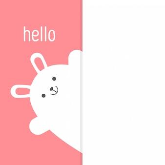 Ładny królik w modnym stylu płaski, szczęśliwy walentynki