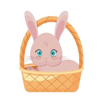 Ładny królik w wiklinowym koszu