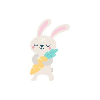Ładny królik wielkanocny z ilustracją marchwi
