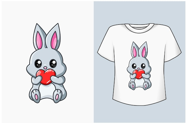 Ładny królik z ilustracji kreskówki miłości