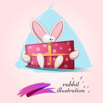 Ładny królik z ilustracji prezent.