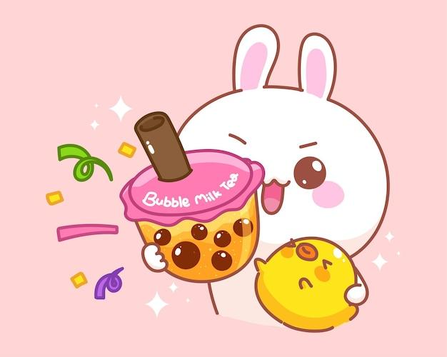 Ładny królik z kaczką trzymając bąbelkową herbatę mleczną ilustracja kreskówka