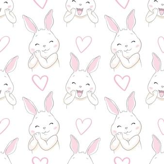 Ładny królik z kokardą szkic ilustracja wzór bez szwu, ręcznie rysowane króliczek tło