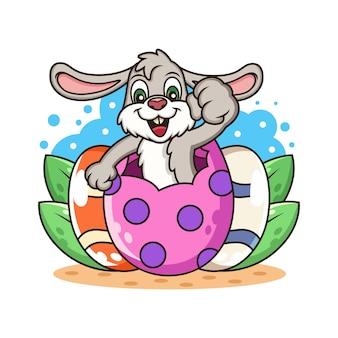 Ładny królik z kreskówek jaj.
