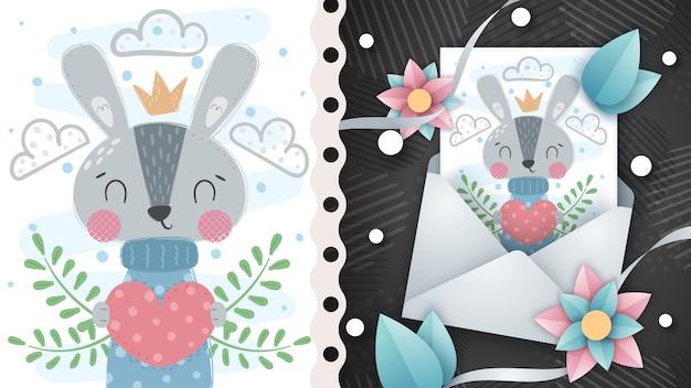 Ładny królik z sercem - pomysł na kartkę z życzeniami. rysowanie ręczne