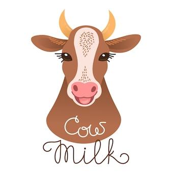 Ładny krowa portret. napis z mleka krowiego. postać cielęca w stylu kreskówki.