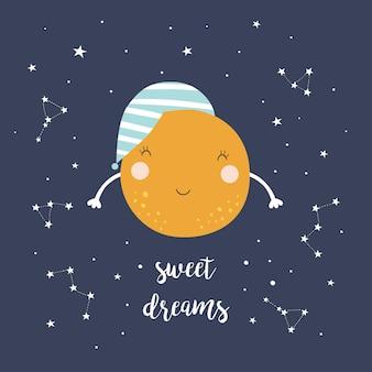 Ładny księżyc i gwiazdy