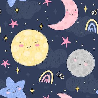 Ładny księżyc, półksiężyc, planety i gwiazdy na tle nocy z chmurami. ręcznie rysowane wzór. ilustracja do pokoju dziecięcego i tkaniny