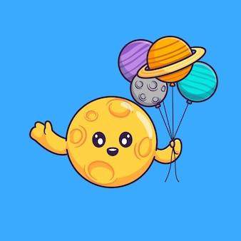 Ładny księżyc trzyma ilustracja kreskówka balon planety. koncepcja nauka natura na białym tle. płaski styl kreskówki