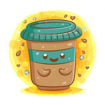 Ładny kubek kawy kawaii kreskówka maskotka