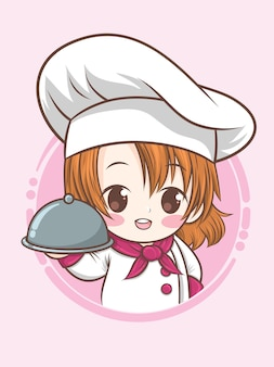 Ładny kucharz chłopiec - ilustracja kreskówka (maskotka)