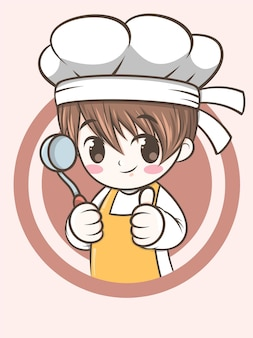 Ładny kucharz chłopiec trzyma zupę kadzi - kreskówka kucharz
