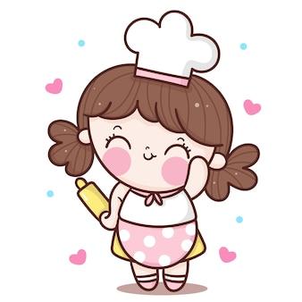 Ładny kucharz dziewczyna kreskówka pozdrowienie dla stylu kawaii piekarni