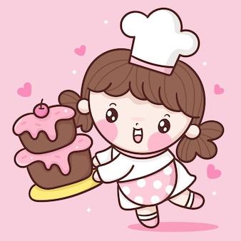 Ładny kucharz dziewczyna kreskówka trzyma tort urodzinowy piekarnia stylu kawaii