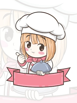Ładny kucharz dziewczyna postać z kreskówki