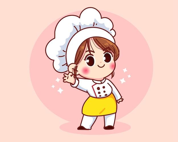 Ładny kucharz dziewczyna uśmiecha się w mundurze maskotki, wskazując ok znak ilustracja kreskówka