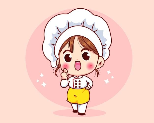 Ładny kucharz dziewczyna uśmiechając się w mundurze dając kciuki do góry ilustracja kreskówka