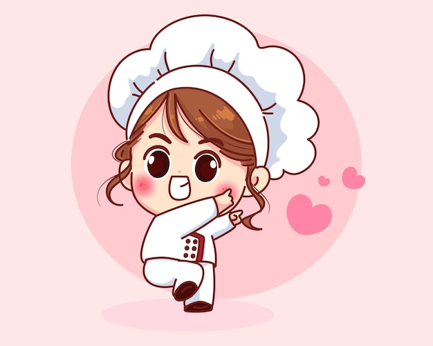 Ładny kucharz dziewczyna uśmiechając się w mundurze powitalnym ilustracja kreskówka