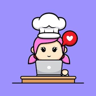 Ładny kucharz dziewczyna z laptopa maskotka projekt