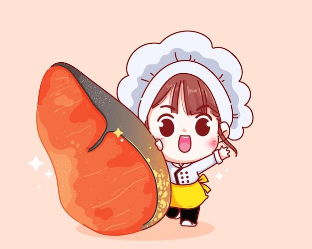 Ładny kucharz i ilustracja kreskówka stek z łososia