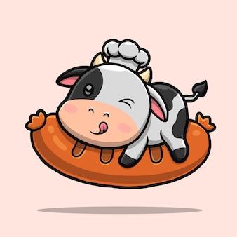 Ładny kucharz krowa jedzie kreskówka kiełbasa.
