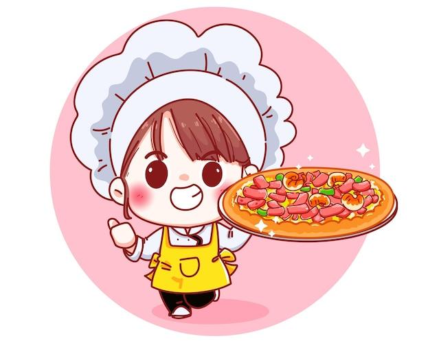 Ładny kucharz trzyma ilustrację kreskówki pizzy
