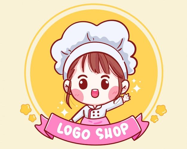 Ładny kucharz uśmiecha się do logo sklepu