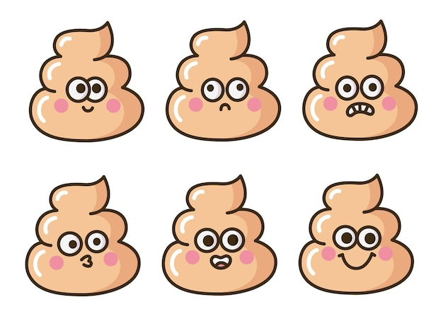 Ładny kupa emoji zabawny zestaw kreskówek