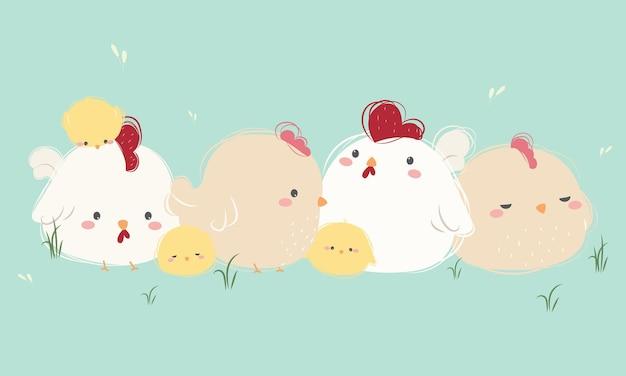 Ładny kurczak rodzina zestaw w stylu rysunek ręka