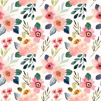 Ładny kwiat brzoskwini akwarela bezszwowe wzór