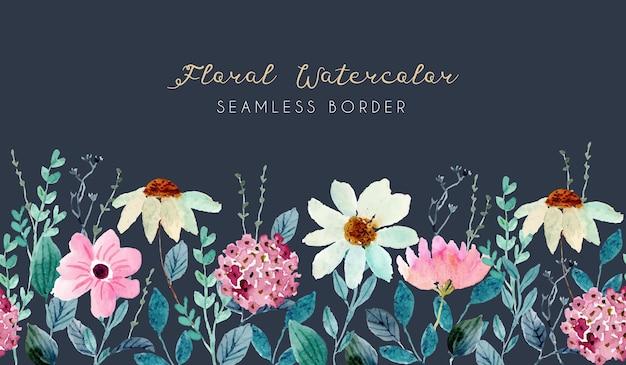 Ładny kwiat ogród akwarela bezszwowe granica