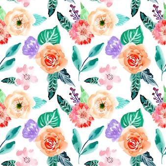 Ładny kwiatowy akwarela bezszwowe wzór