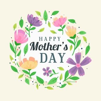 Ładny kwiatowy dzień matki napis