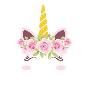 Ładny kwiatowy jednorożec