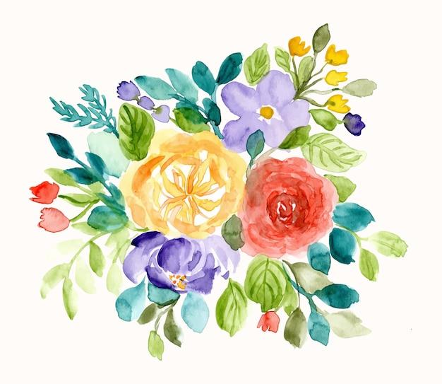 Ładny kwiatowy tło układ akwarela