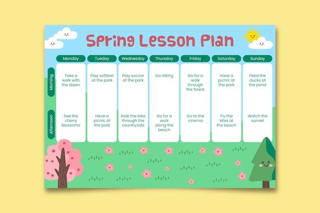 Ładny kwiatowy tygodniowy wiosenny plan lekcji