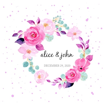 Ładny kwiatowy wieniec akwarela na szablon zaproszenia karty ślubu